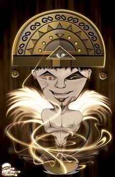 Ilustración Prehispánica - TUMI: Esta ilustración representa el Cuchillo ceremonial de la cultura Chimu, personifica al dios Naylamp, bañado en oro y se usaba en sacrificios ceremoniales. Es uno de los ejemplar arqueológico más conocido en la costa norte peruana.