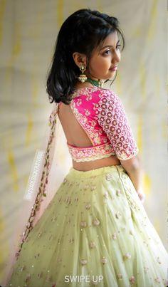 Kids Party Wear Dresses, Kids Dress Wear, Dresses Kids Girl, Kids Outfits, Baby Girl Lehenga, Kids Lehenga, Kids Indian Wear, Kids Ethnic Wear, Pattu Saree Blouse Designs
