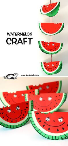 Top 20 Fun Watermelon Craft Ideas Perfect for Summer : Watermelon is what summer is all about and these Watermelon Craft Ideas are the perfect way to celebrate! Enjoy these Creative watermelon project tutorials. Watermelon Crafts, Fruit Crafts, Diy For Kids, Crafts For Kids, Easy Arts And Crafts, Diy Crafts, Pumpkin Art, Paper Plate Crafts, Classroom Crafts
