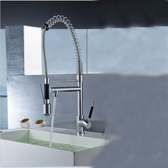 Contemporary Single Handle Chrome Finish Pull-Out Spray LED Kitchen Faucet with 3 Color Changing  http://www.tapso.co.uk/contemporary-single-handle-chrome-finish-pullout-spray-led-kitchen-faucet-with-3-color-changing-p-1732.html