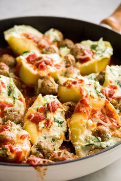 Spinach Stuffed Shells with Mini Turkey Meatballs