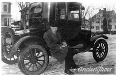 I love the pose! Arthur Andersen (1899-1967) showing off his brand new 1924 Ford. Original: http://www.ancientfaces.com/photo/arthur-andersen-his-new-car/1265307