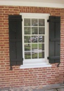 diy shutter for front kitch window- charcoal grey
