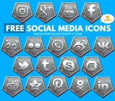 Free Social Media Icons 2018 Metal Free Photoshop, Photoshop Tutorial, Photoshop Actions, Social Media Icons, Social Networks, Post Date, About Me Blog, Bronze, Metal