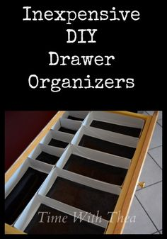 Inexpensive DIY Drawer Organizers ~ Drawer organizers made from tissue boxes! It is an inexpensive idea to add more storage and organization to a bathroom or kitchen junk drawer!