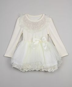Look what I found on #zulily! Cream Lace-Overlay Tutu Dress - Infant, Toddler & Girls #zulilyfinds