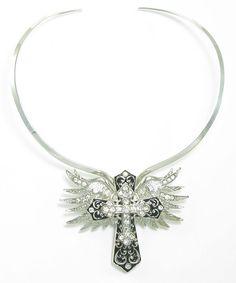 Austrian Crystal Angel Wing Cross Magnetic Pendant on Choker Buckaroo Bay Cowgirl Jewelry & Western Accessories BuckarooBay.com