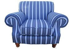 """Great for a guest bedroom or maybe a home office Blue & White-Striped Club Chair, size: 42"""" L x 45"""" W x 35.5"""" H Onekingslane.com As described by Fragments Identity  Vintage one-of-a-kind oversize rollback club chair freshly upholstered in herringbone weave blue and white stripe textile. Extremely comfy!"""