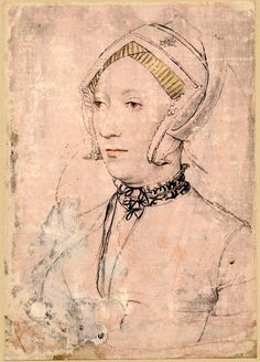 1st half of 16th cent. Portrait of Katharine Willoughby, Duchess of Suffolk, after Holbein the Younger; TWO VERSIONS?