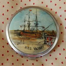 Vintage 1930's Stratton ladies powder compact, Nelson's HMS Victory, from The Old Grey Mare on Ruby Lane.