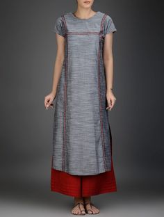 Buy Grey Red Round Neck Flared Cotton Chambray Kurta Voile Women Kurtas Online at Jaypore.com