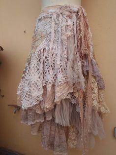 "20%OFF wedding bridesmaid formal bohemian gypsy boho shabby wrap skirt...a work of art 48"" across plus ties...."