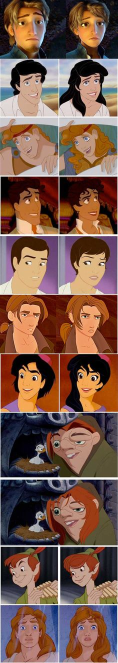 Gender-Bending Disney Characters. I find this a lot more funny than anything else. They are so ugly as girls.