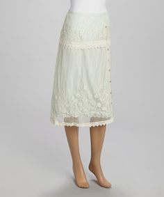 Look at this #zulilyfind! Ivory & Mint Floral Embroidered Sheer Overlay Midi Skirt by Papillon Imports #zulilyfinds