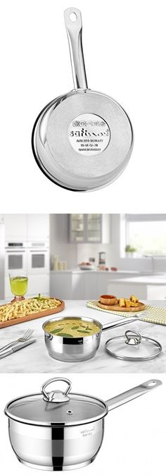 Safinox Stainless Steel Tri-Ply Thermo Capsulated Bottom Sauce Pan with Glass Lid, Induction Ready, Dishwasher Safe Saucepans, Dishwasher, Stainless Steel, Glass, Kitchen, Dishwashers, Cooking, Drinkware, Corning Glass