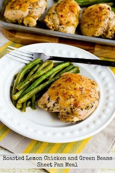 This Roasted Lemon Chicken and Green Beans Sheet Pan Meal is an easy and delicious dinner that's low-carb, Keto, low-glycemic, gluten-free, dairy-free, and South Beach Diet Phase One, and can be Paleo or Whole 30 with the right ingredient choices! Check out Sheet Pan Meals for more recipes like this one! Click here to PIN…