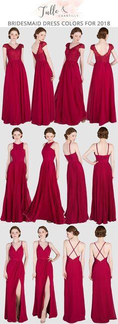 red bridesmaid dresses for 2018 trends #weddingcolors #bridalparty #bridesmaiddress #weddinginspiration