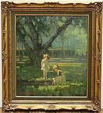 Guillaume 'Giel' Eberhard (1879-1949) Pootje baden in het park