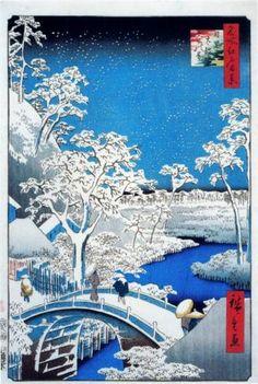 Drum Bridge and Setting Sun Hill, Meguro - Hiroshige