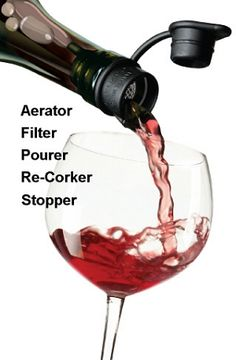 Haley's Corker 5 in 1 Wine Tool: •  Aerator – to enhance bouquet and flavor •  Filter - helps prevent cork residue, sedimentfrom entering a glass •  Pourer - drip-free pour control •  Re-corker – never struggle with a cork again •  Stopper – store wine and make bottles spill-proof whole on their side in the refrigerator