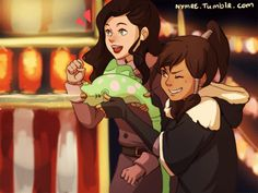 At the carnival, Korra and Asami (art by nymre on tumblr)