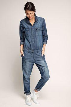 Hvorfor lager de ikke bukser i denne stilen lenger ? Jeans Jumpsuit, Jumpsuit Outfit, Casual Jumpsuit, Denim Overalls, Denim Jeans, Outfit Jeans, Denim Outfits, Combi Jean, Casual Chic