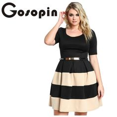 29dec5bd4382 Gosopin Big Girl 3XL Casual Autumn Short Sleeve Apricot Stripes Detail  Belted Plus Size Skater Dress