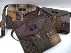 Memorial Gift, Custom Made Memory Purse Out Of Your Loved Ones Suit Coat or Clothing, tote bag, Mem Mens Suit Coats, Suit Vest, Tweed, Old Clothes, Clothes Crafts, Recycled Leather, Sympathy Gifts, Memorial Gifts, Wool Suit