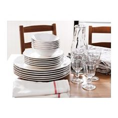 IKEA - ARV, 18-piece dinnerware set, Dinnerware that combines a simple, rustic design with a soft ruffled edge. It allows you to coordinate ARV with other porcelain to get different characters in your table settings.