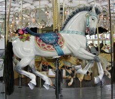The Crescent Park Carousel Looff Outside Row Jumper. /So pretty EL/ All The Pretty Horses, Beautiful Horses, Carosel Horse, Stick Horses, Amusement Park Rides, Wooden Horse, Painted Pony, Merry Go Round, Horse Art