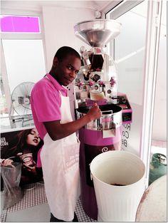 Mayibongwe roasting in the Diedrich coffee roaster