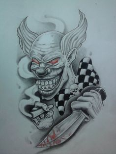 DeviantArt: More Like Flash tattoo by Demon Drawings, Tattoo Drawings, Body Art Tattoos, Badass Drawings, Jester Tattoo, Demon Tattoo, Good Clowns, Evil Clowns, Tattoo Gangsta