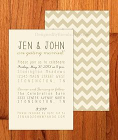 Set of 100 - Chevron Wedding Invitations - Can be printed on recycled cardstock or linen cardstock. $150.00, via Etsy.