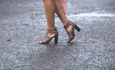 Suede taupe gladiators are great for Spring, and with a little bit of suede spray, you can totally combat the rain, too!