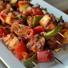 Chicken Bacon Pineapple Pepper Skewers | Small Town Woman