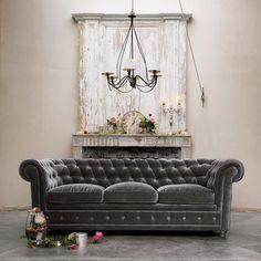 Grey velvet Chesterfield style sofa