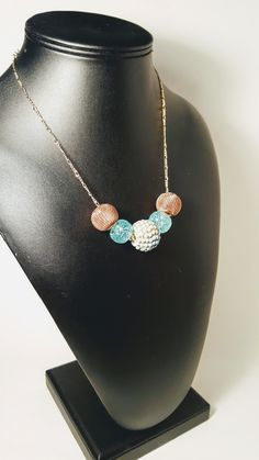 Simple but elegant  Bluish Teal Tinged Bauble Chain Necklace by NotableJewelDesigns on Etsy