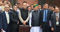 Jaitley presents Budget amid protests by Congress  #ArunJaitley #Budget2017 #protests #congress