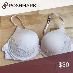 Victoria's Secret push-up bra blush nude Victoria's Secret push-up bra, blush/nude, very light blue, with lace and gems.  Never worn, strap tag in place Victoria's Secret Intimates & Sleepwear Bras