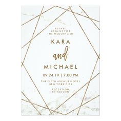 Wedding Roses Marble and Faux Rose Gold Geometric Wedding Invite - These contemporary wedding invitations feature a white marble look background and faux rose gold geometric lines for an edgy, modern look. Peacock Wedding Invitations, Simple Wedding Invitations, Elegant Invitations, Wedding Invitation Templates, Invitation Design, Wedding Stationery, Wedding Invitation Text, Invitation Wording, Invitation Suite