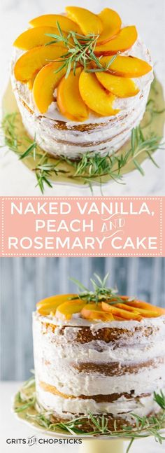 This semi-naked vanilla, peach and rosemary cake frosted with Italian buttercream icing totally hides the fact that I& not a baker, so it should be easy enough for anyone to make. Italian Buttercream, Buttercream Icing, Cupcakes, Cupcake Cakes, Nake Cake, Round Cake Pans, Dessert Recipes, Desserts, Cupcake Recipes