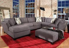Shop for a Cindy Crawford Home Metropolis Slate Left 4 Pc Sectional Living Room at Rooms To Go. Find Living Room Sets that will look great in your home and complement the rest of your furniture. Grey Sectional, Sofa Couch, Living Room Sectional, Living Room Furniture, Living Room Decor, Gray Couches, Affordable Furniture Stores, At Home Furniture Store, Living Room Colors