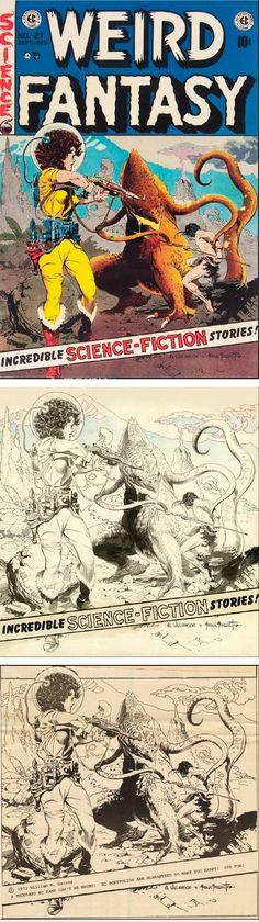FRANK FRAZETTA & AL WILLIAMSON - Weird Fantasy 21 - Sept-Oct 1953 EC Comics - print /cover from capnscomics.blogspot.com