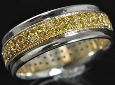 Stuller Two Tone 14k Gold Fancy Canary Diamond Eternity Mens Wedding Band Ring