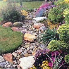 Landscaping With Rocks, Front Yard Landscaping, Landscaping Ideas, Backyard Ideas, Dry Riverbed Landscaping, River Rock Landscaping, Landscaping Shrubs, Landscaping Melbourne, Front Walkway