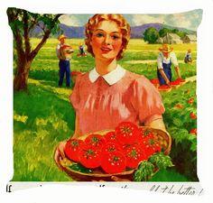 "Retro Vintage boy girl harvest tomato fruit field plantation cushion cover 18"""