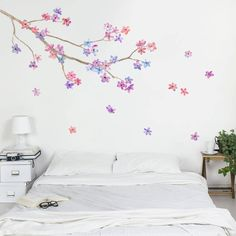 Love this beautiful blossom branch wall sticker set from Oakdene Designs on notonthehighstreet.com, comes in so many different colours! Stunning beautiful colourful paint effect mural Floral Flower Blossom Branch Wall Sticker