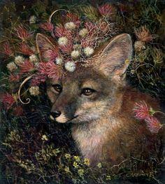 ♞ Artful Animals ♞ bird, dog, cat, fish, bunny and animal paintings - Carolyn Schmitz   Fox
