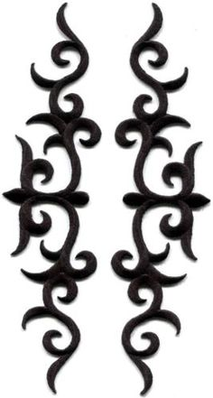 Black trim fringe leaves boho retro applique iron-on patches pair new Embroidery Designs, Vintage Embroidery, Stencil, Crochet Hook Set, Antique Keys, Viking Symbols, Sewing Appliques, Learn Embroidery, Vintage Sewing Patterns