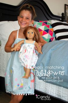 Tutorial for this DIY Nightgown for girls and American Girl Doll